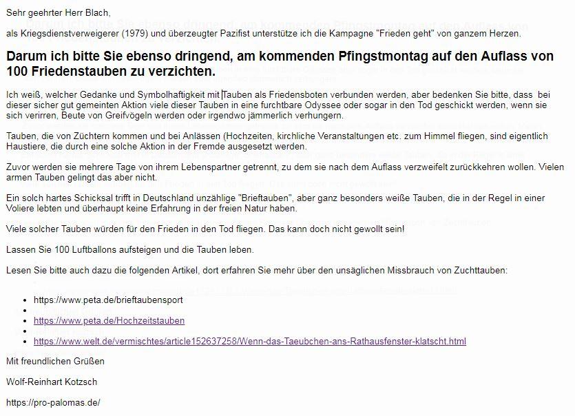 Keine Friedenstauben in Oderndorf