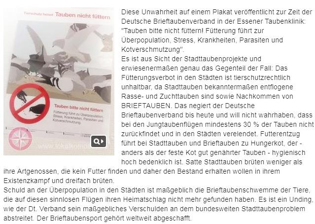 """Diese Unwahrheit auf einem Plakat veröffentlicht zur Zeit der Deutsche Brieftaubenverband in der Essener Taubenklinik: """"Tauben bitte nicht füttern! Fütterung führt zur Überpopulation, Stress, Krankheiten, Parasiten und Kotverschmutzung""""."""