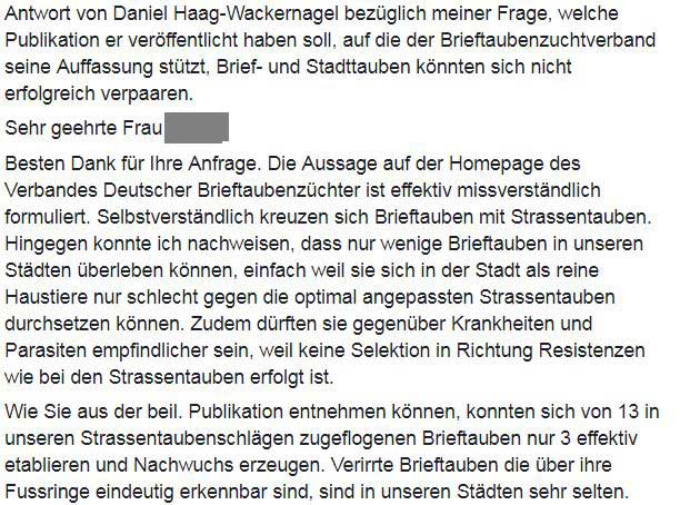 Brief von Professor Haag-Wackernagel