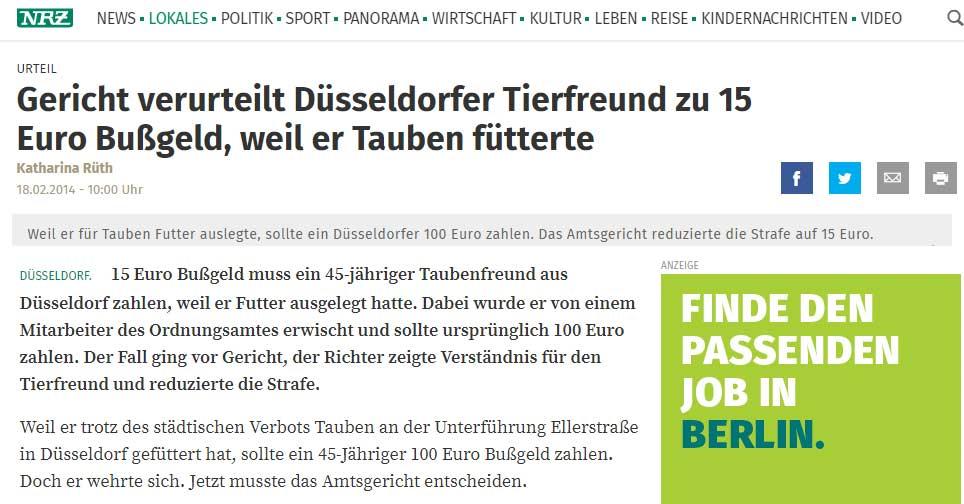 Urteil in Düsseldorf wegen Verstoß gegen das Fütterverbot von Tauben