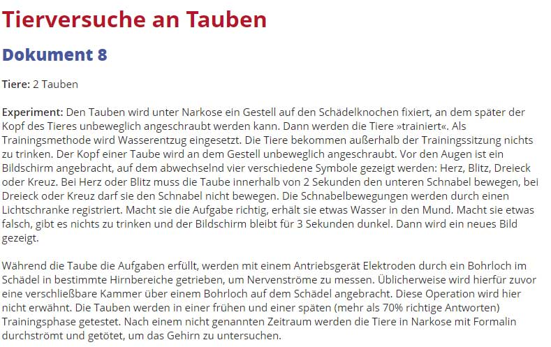 Tierversuche an Tauben an der Uni Bochum